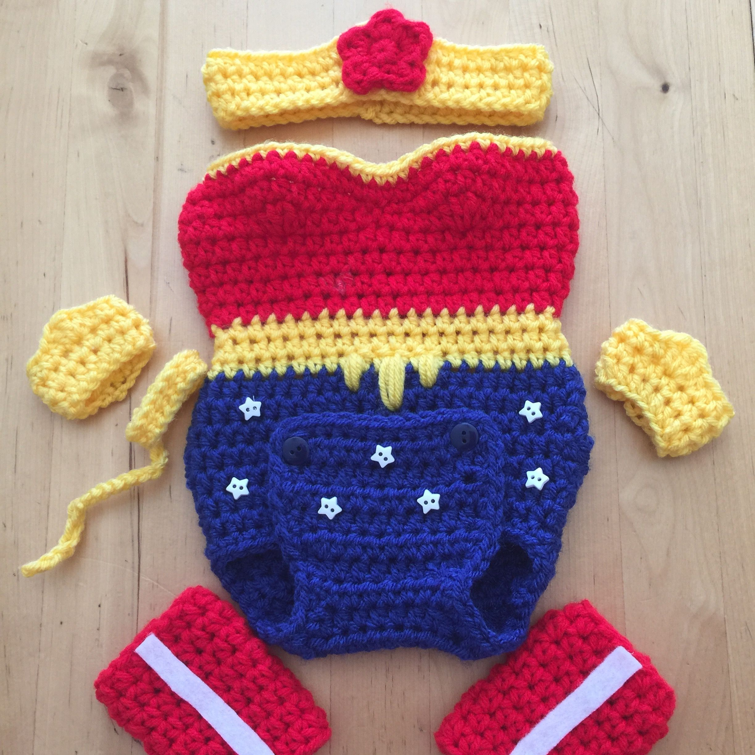 Wonder Woman crocheted onesie handmade by me Inspired by https://www ...