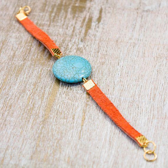 Turquoise bracelet / orange leather bracelet / gemstone jewelry by Tebessum