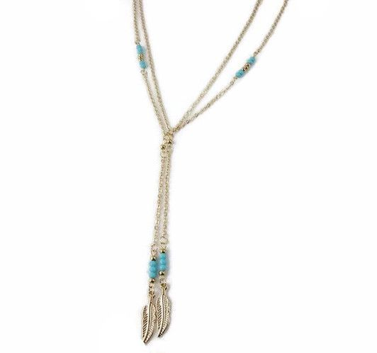 Boho Feather Necklace with Turquoise Beads