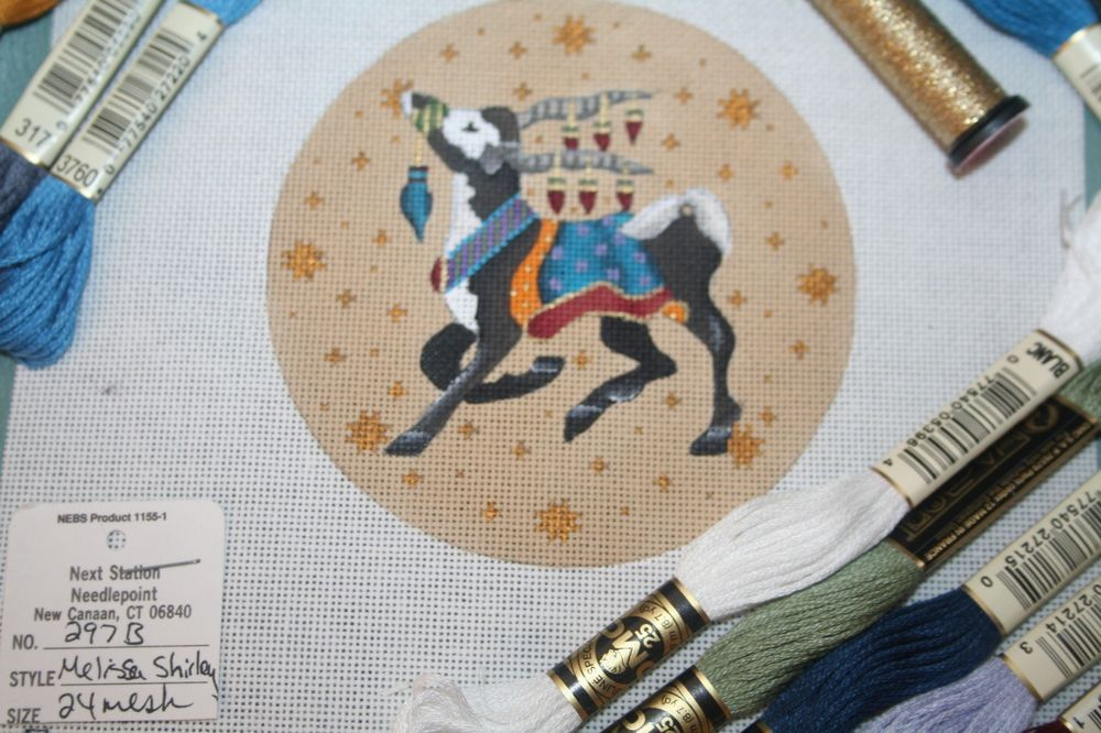 Melissa Shirley Hand Painted Needlepoint Kit with Threads Christmas