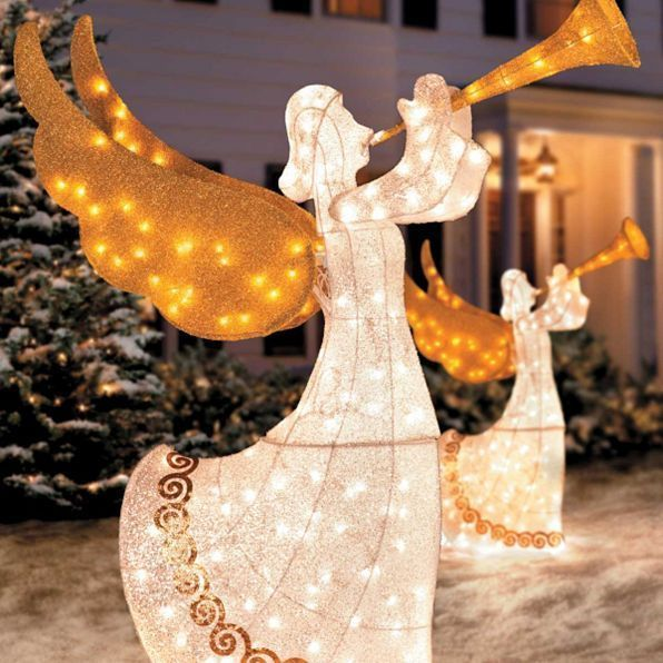 Christmas Lighted Angel Glitter Trumpet Horn Outdoor Yard Art Lawn - outdoor angel christmas decorations