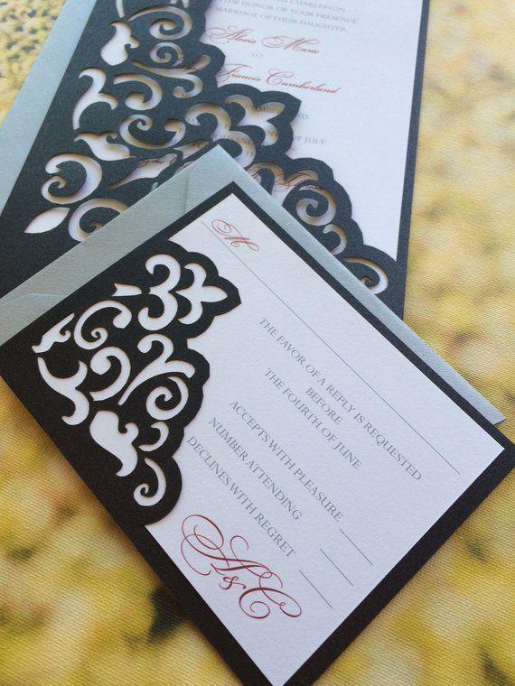 Lasercut Wedding Invitation Sleeve Pocket - Elegant Scroll Pattern - Die Cut Pocket