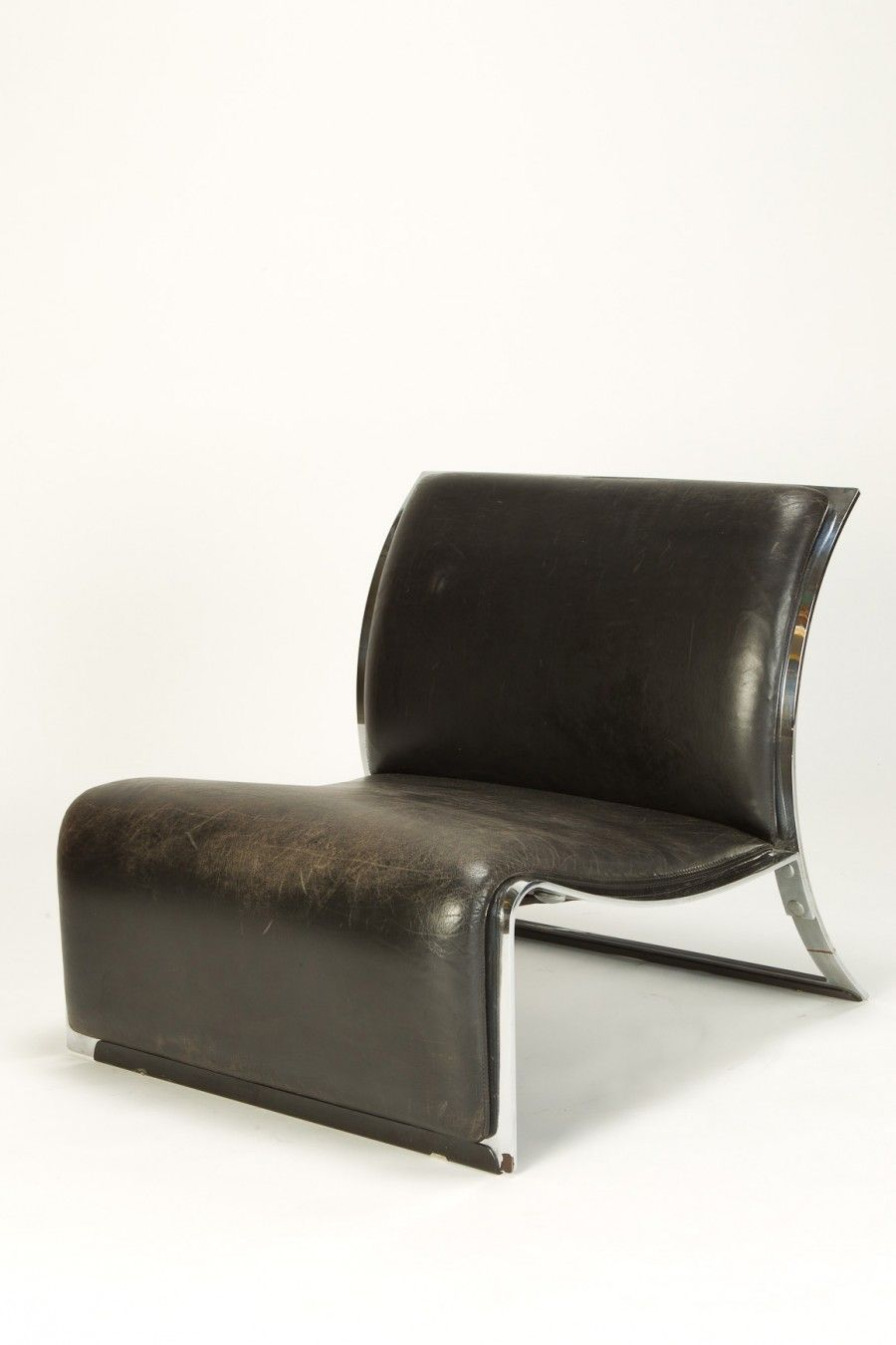 Saporiti Italia Designer Sessel Vittorio Introini Leather And Chromed Metal Lounge Chair For