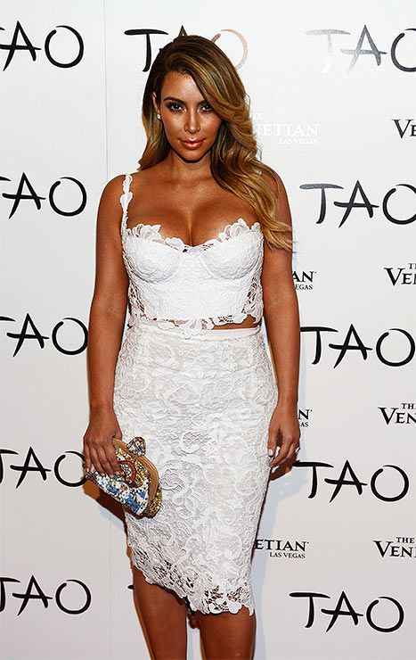 f527ee73ab Kim Kardashian White Lace Bustier Dress At Las Vegas Birthday Party - Us  Weekly