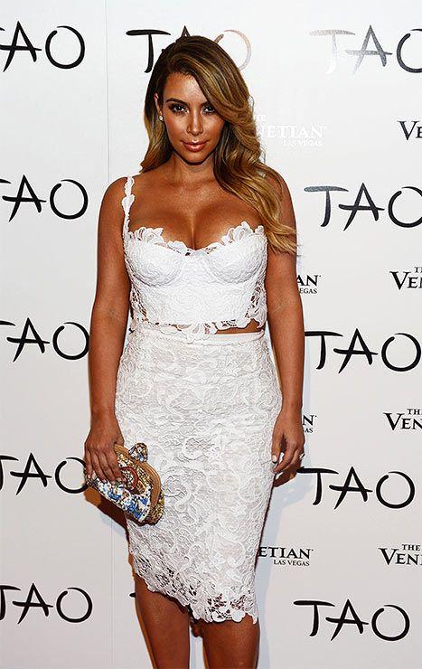 7e9803b2fd9 Kim Kardashian White Lace Bustier Dress At Las Vegas Birthday Party - Us  Weekly
