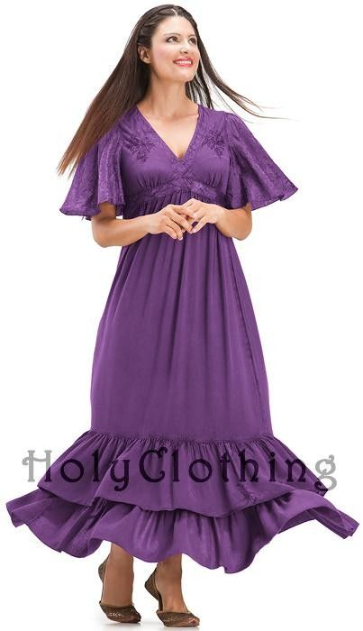 Shop Fleur Empire V-Neck Ruffled Gypsy Dress In Purple Passion: http://holyclothing.com/index.php/fleur-empire-waist-flutter-sleeve-v-neck-ruffled-gypsy-dress.html From $44.99. Repins are always appreciated :) #holyclothing #fashion