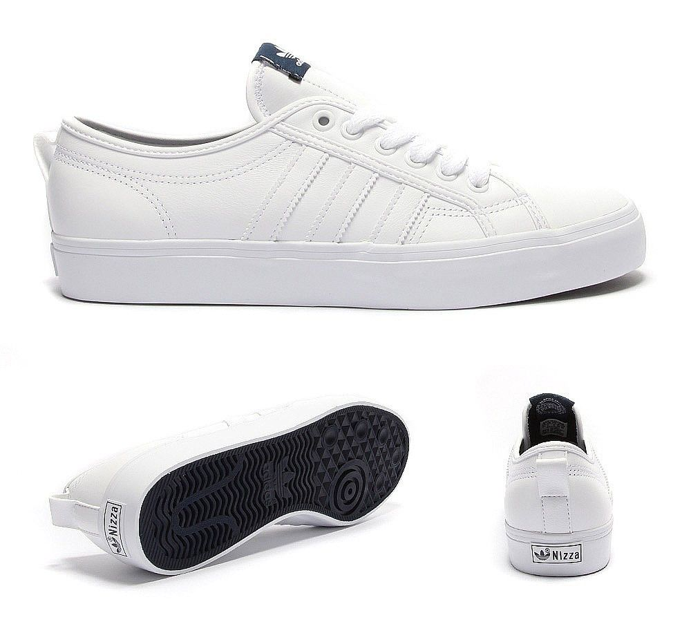 Mens Adidas Originals Nizza Low Trainer White / Navy LA8115