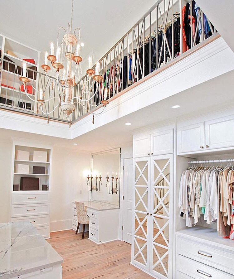 Lovely Two Storey Walk In Closet With Chandelier.