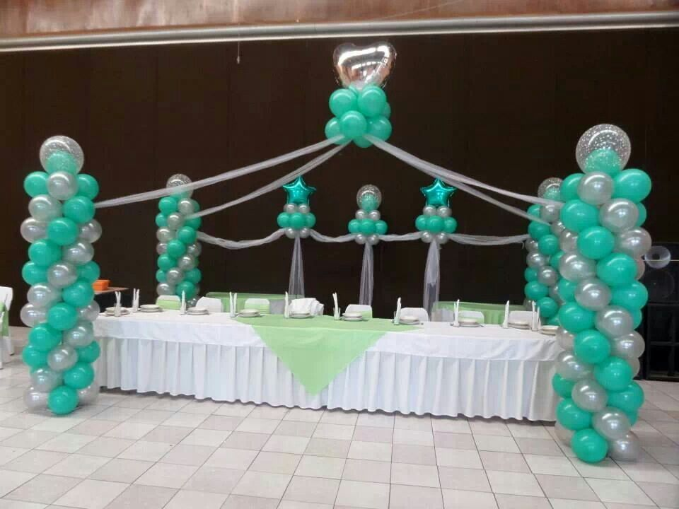 Turquoise balloon arch bodacious balloons pinterest for Balloon decoration ideas for sweet 16