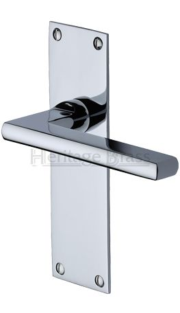 Heritage Br Trident Low Profile Door Handles On Backplates Polished Chrome Tri1300