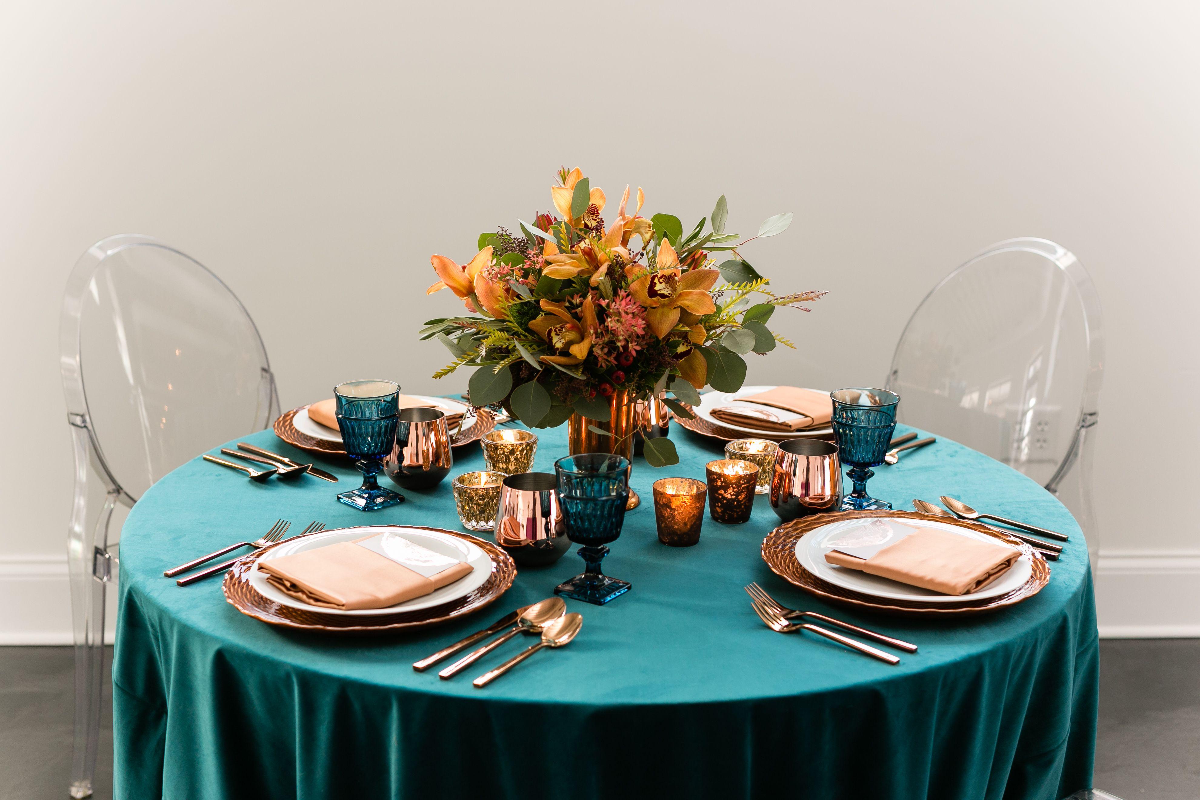 Chartreuse Velvet Table Linen Teal Table Pumpkin Candlesticks Event Decor