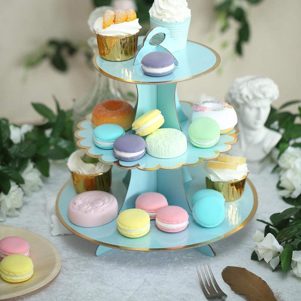 3 Tier 13 Blue Cardboard Cupcake Stand Gold Scalloped Edge Dessert Tower Food Display Stand In 2020 With Images Cardboard Cupcake Stand Food Display Stands Cupcake Stand Wedding