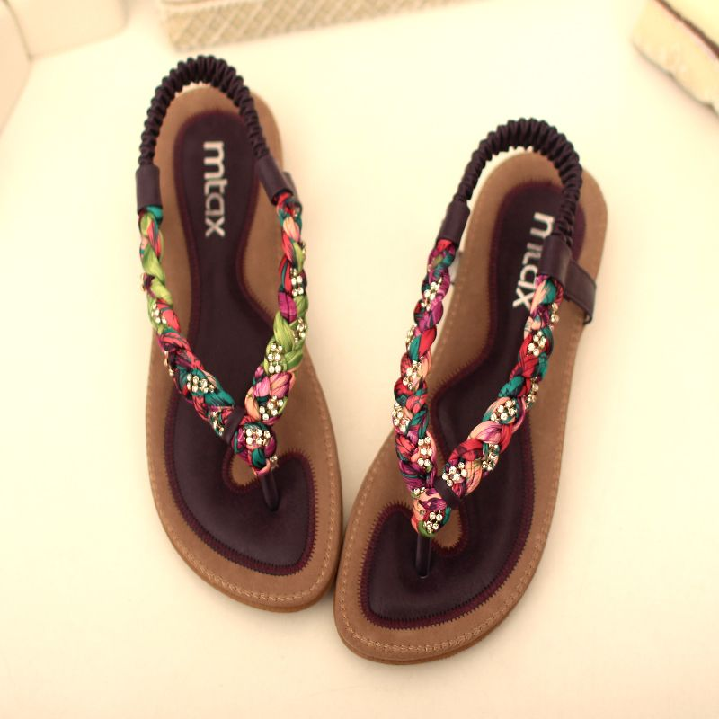 Flat heel sandals fashion national trend rhinestone flat sandals summer casual women's shoes 2014