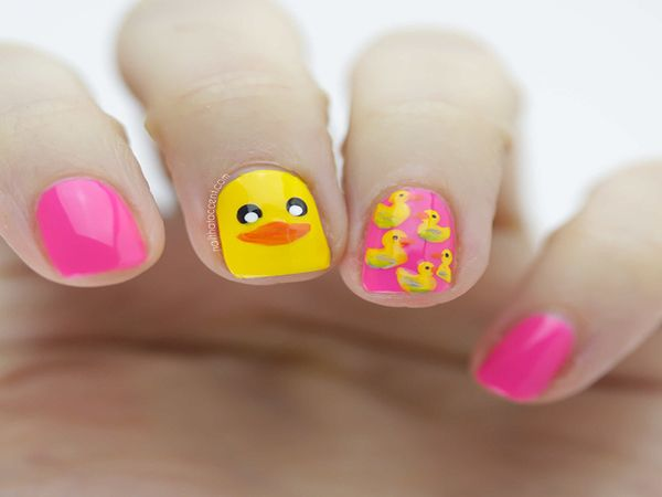 Yellow Duck Nail Design - 12 Cute Animal Nail Art Designs Diy Makeup Nail Art, Nails, Nail