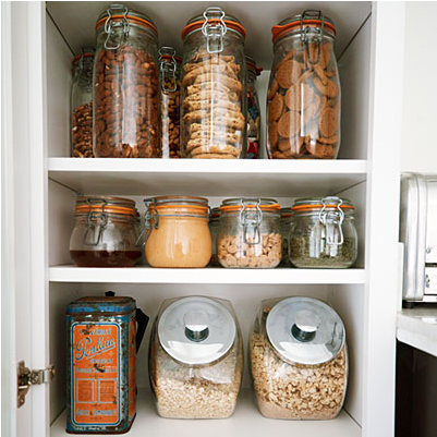 This is the cupboard in the Zero Waste Home -- so organized. So neat and tidy! Click through to read more about this house.