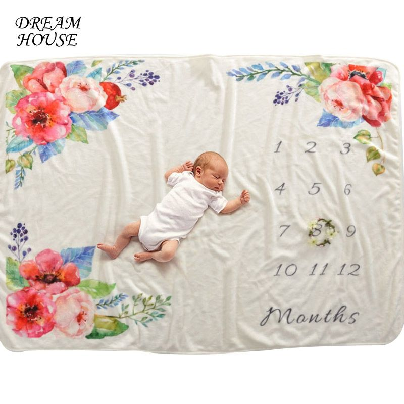 Backdrop Cotton Photo Prop Newborn Baby Blanket Flowers Numbers Monthly
