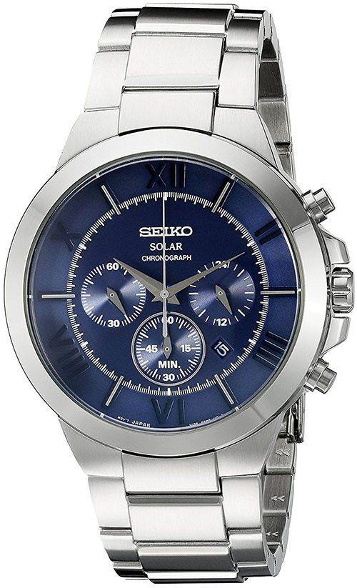 35c82a6ee Seiko Mens Recraft Solar Chronograph 100m Stainless Steel Watch SSC281
