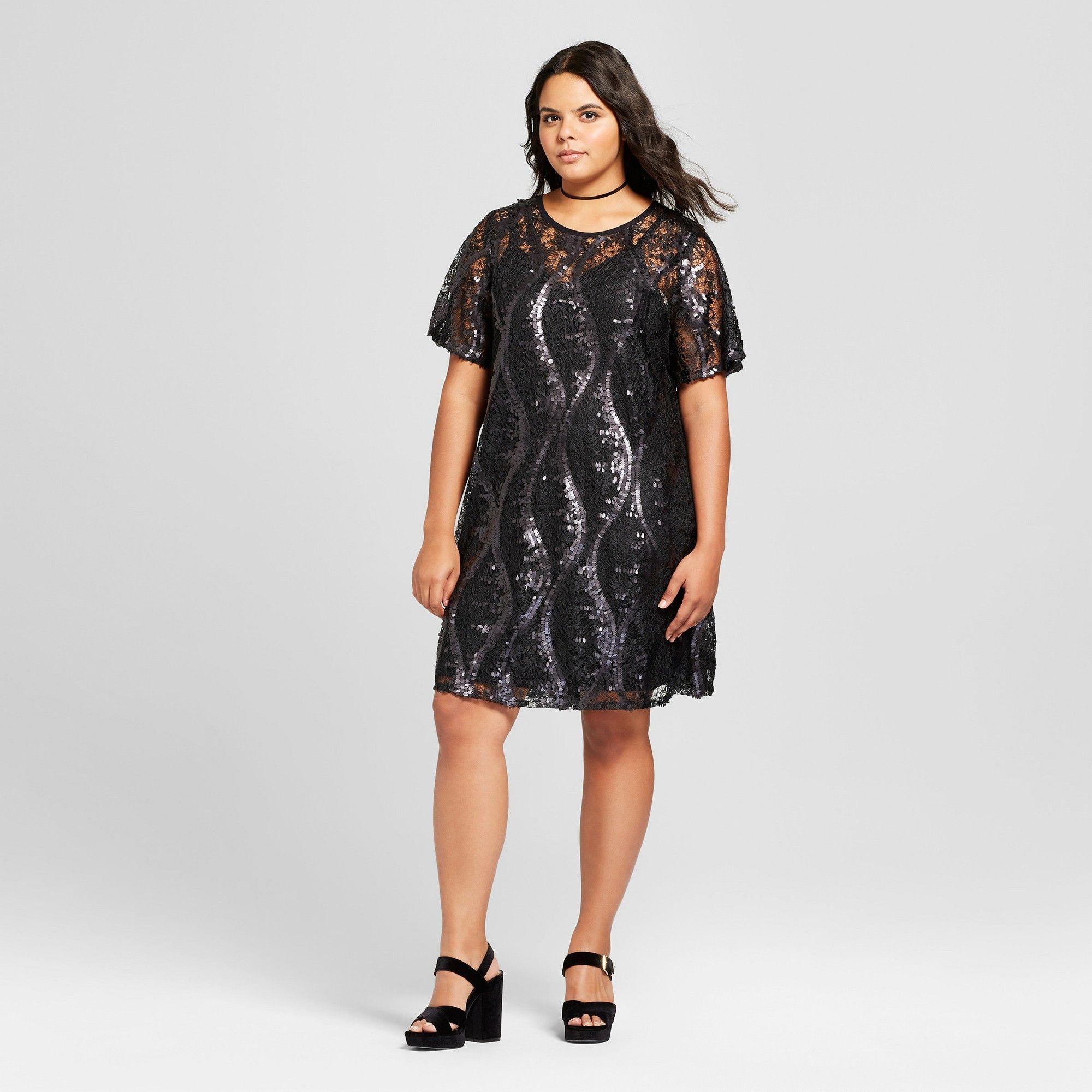 b1ca2b4983d Women s Plus Size Sequin Lace Dress - Xhilaration Black 3X ...