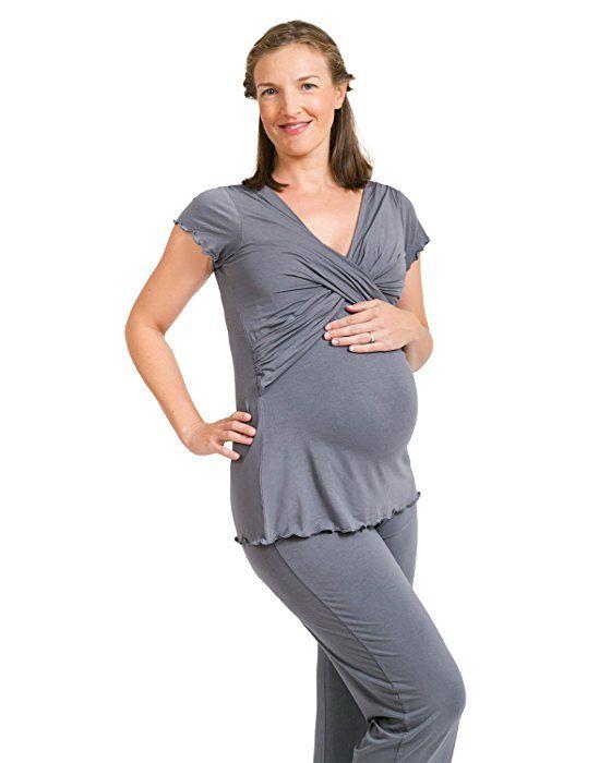 f0bb3f0cf14 Kindred Bravely The Davy Ultra Soft Maternity & Nursing Pajamas Sleepwear  Set (Slate Grey, X-Large)