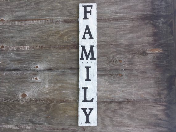 Vertical Family Sign Rustic Wood Sign Farmhouse Black And White Decor Family Room Decor Pallet Wood Signage 36 Inch Vertical Signage Rustic Wood Signs Family Wood Signs Wood Signs