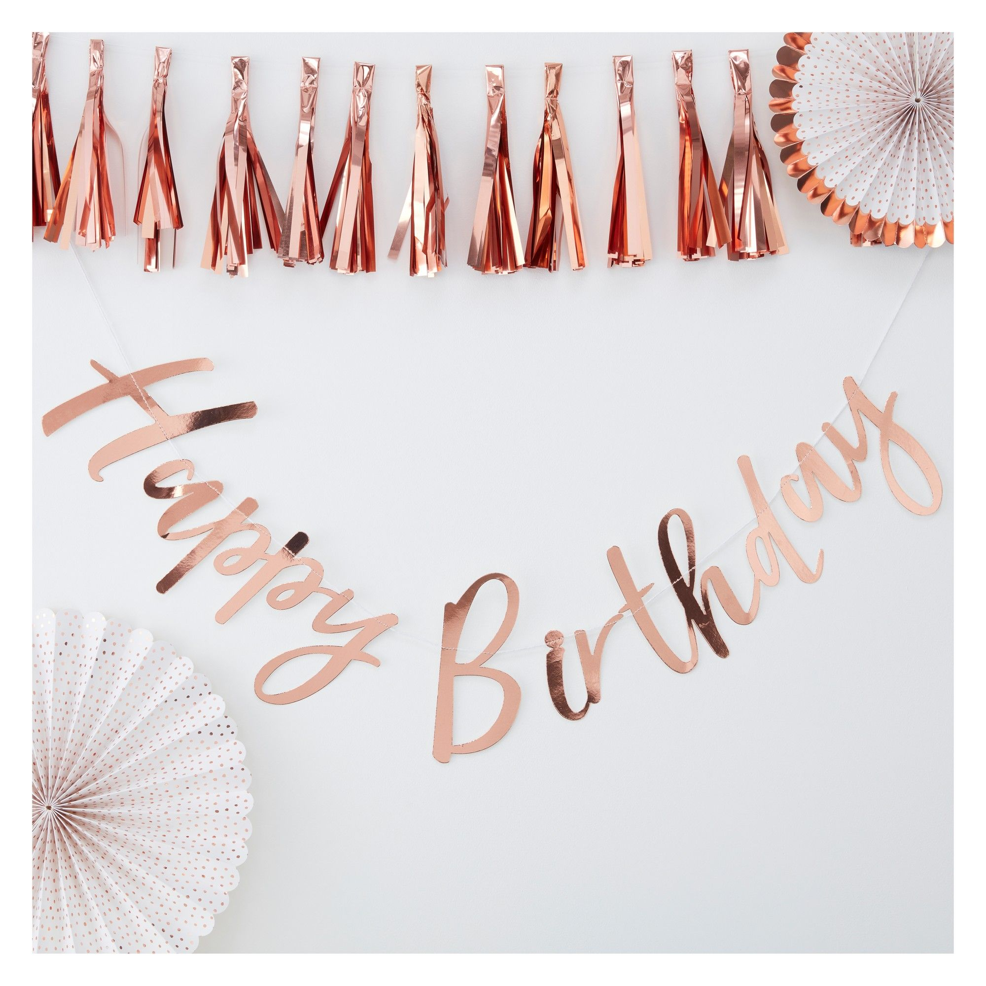 """Photo of """"Happy Birthday"""" Bunting Tag Rose Gold"""