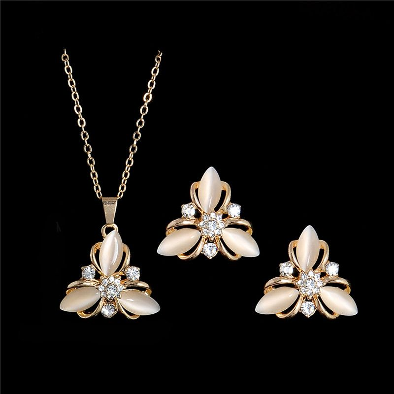 HHYDE Fashion Wedding Jewelry Sets Gold Color Opal Stone Austrian Crystal Necklace Earrings