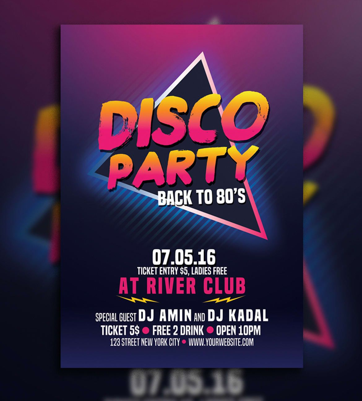 Disco Party 80's Flyer Template PSD | Flyers | Disco party