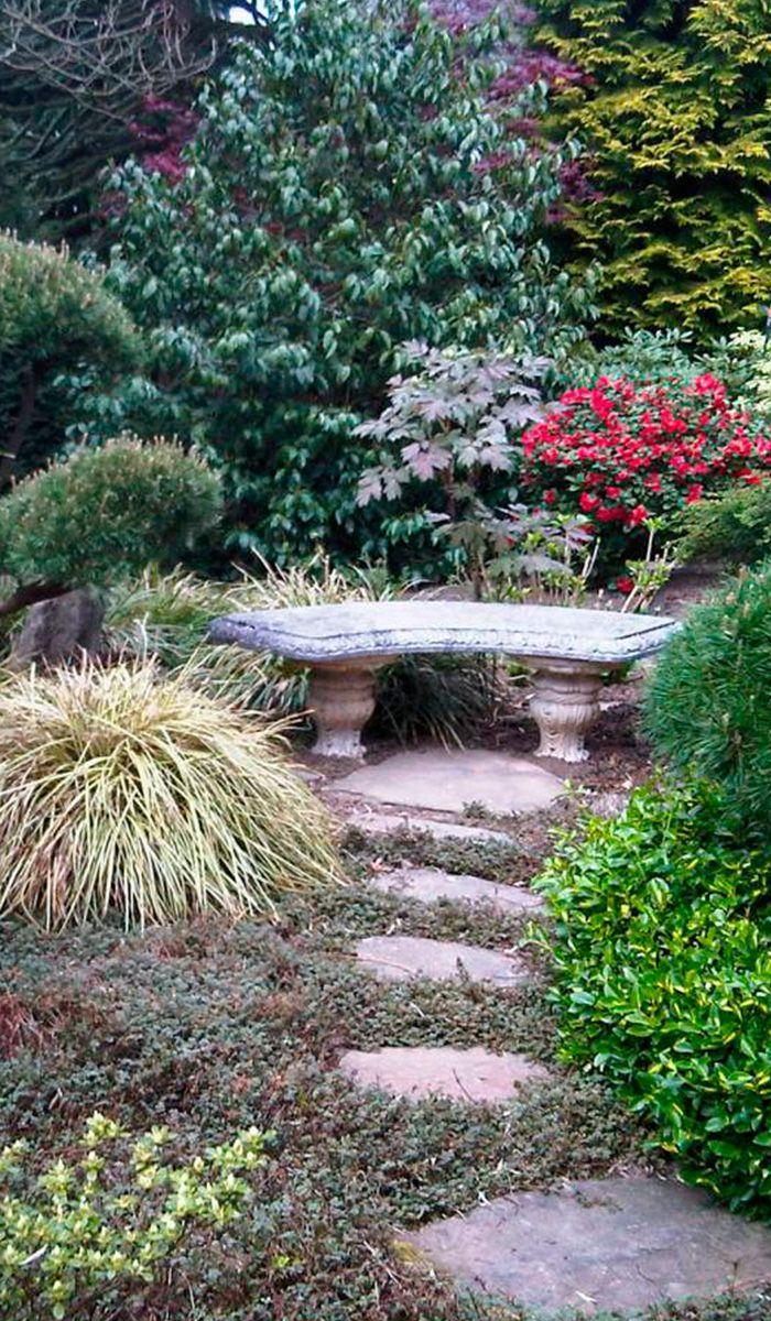 Origineller Garten Mit Mosaik Aus Naturstein Und Asiatischen Elementen Asiatischer Garten Garten Naturnaher Garten