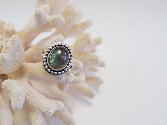 Labradorite Ring  Sterling Silver  Split by RadiantJewelStudio