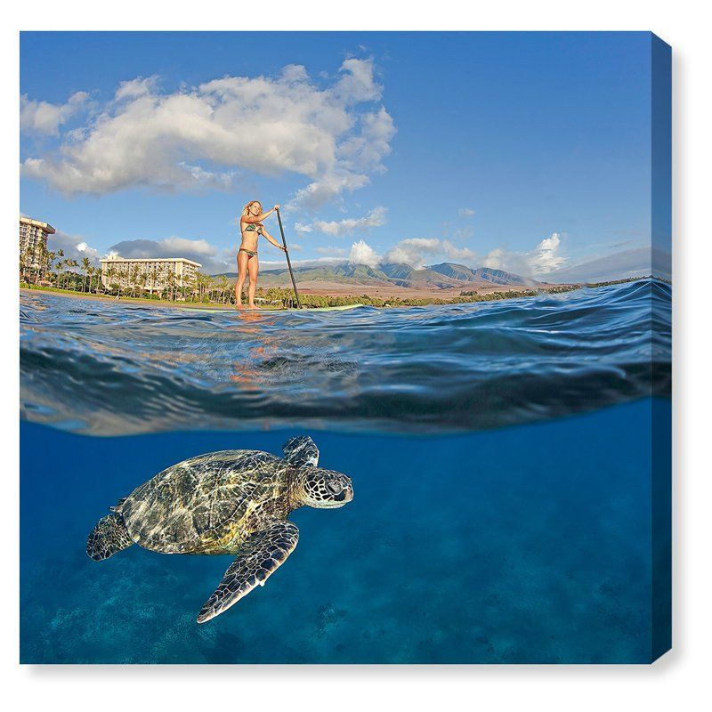 Oliver Gal Sea Turtle and Woman Canvas Art - 20049_12X12_CANV_XHD