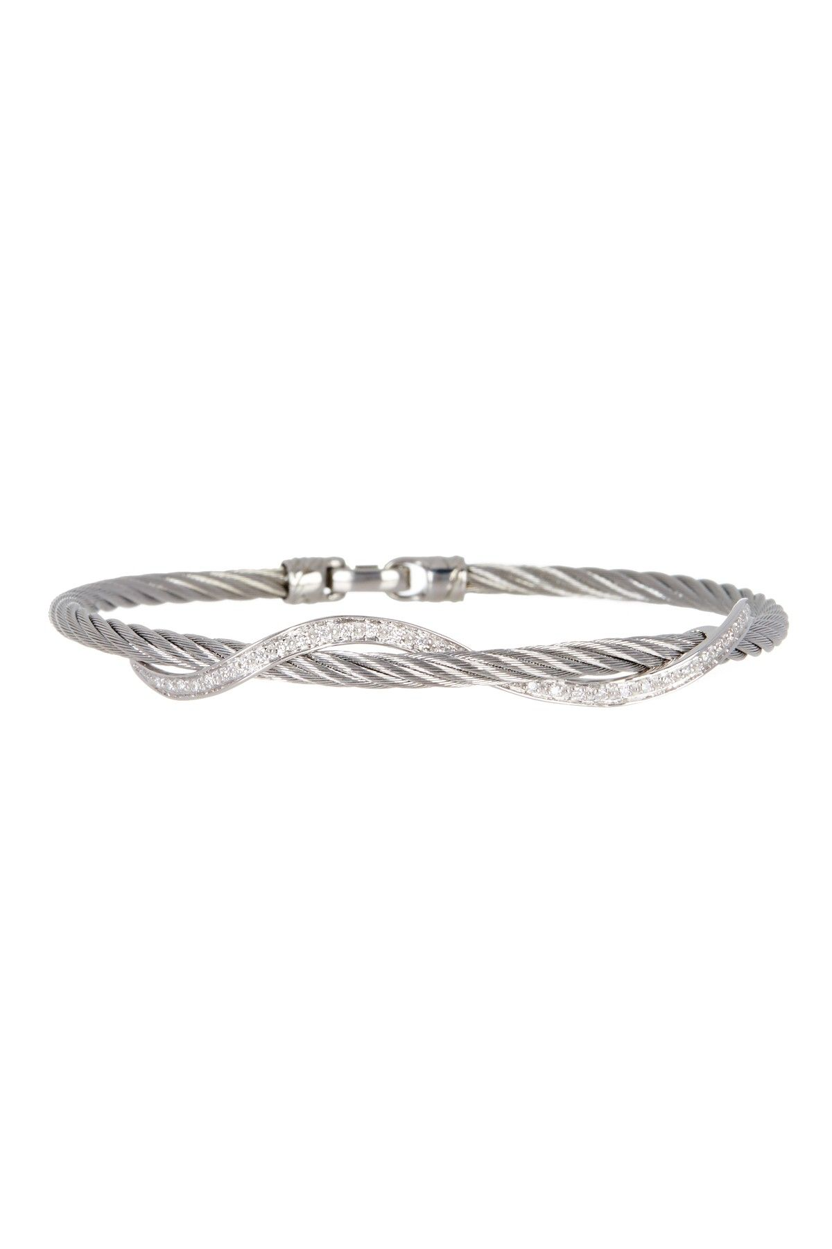 Alor k white gold u stainless steel diamond cable bracelet