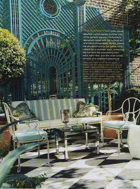 Miles Redd garden with trompe l\'oeil trellis, in \