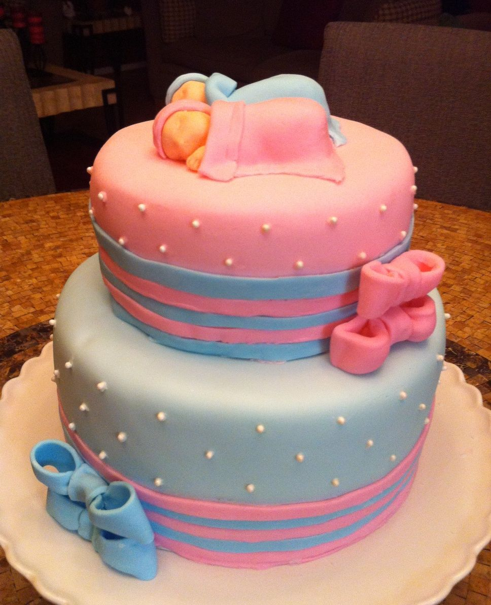 Baby Shower Cakes Blue ~ Pastel baby shower cakes for twins pink and blue