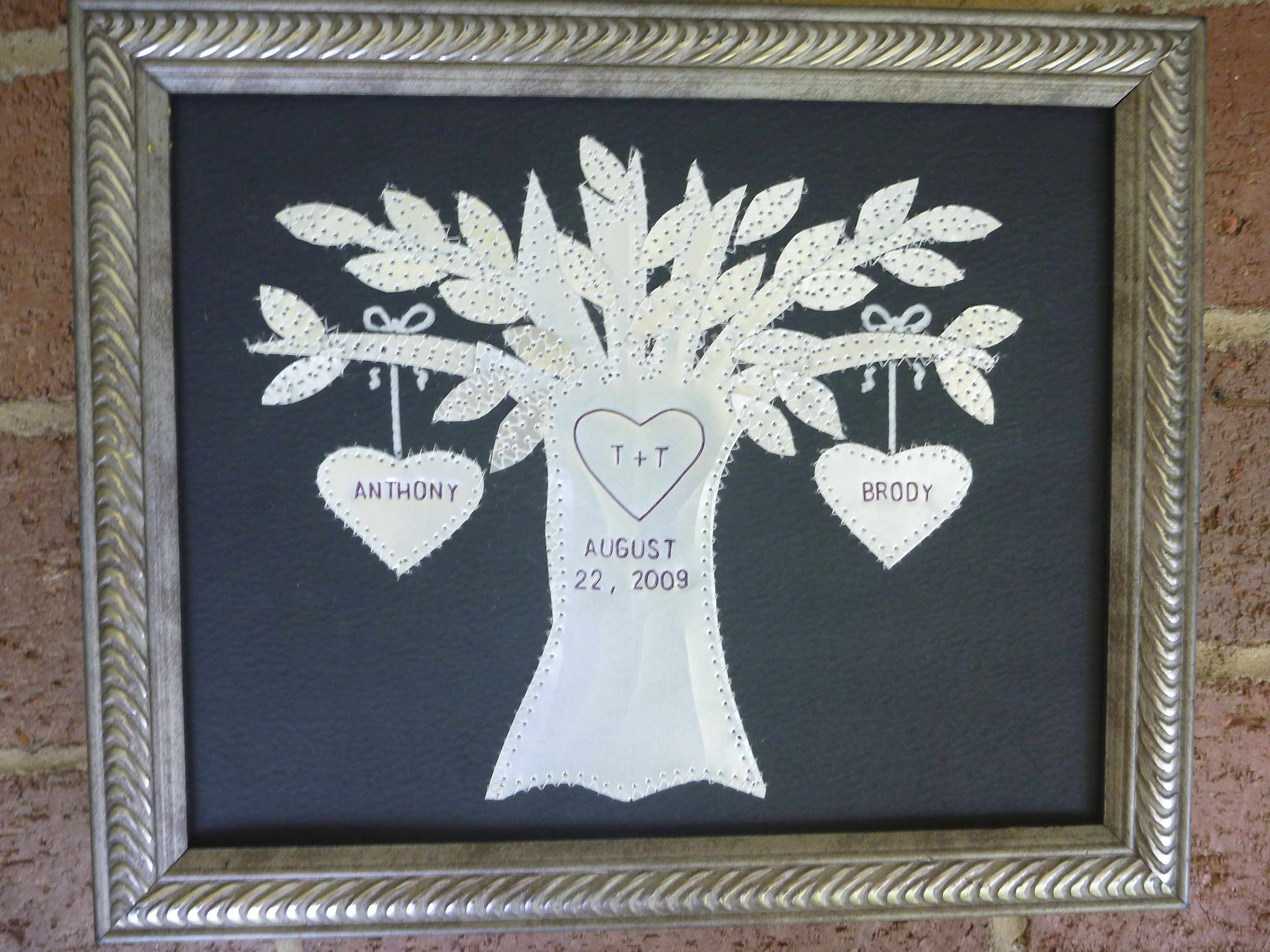 10 Anniversary Gift,  Wedding Gift, Ten Year Wedding Anniversary Gift, Hearts, Family Tree,  Personalized Engraved Dates and Names Stamped
