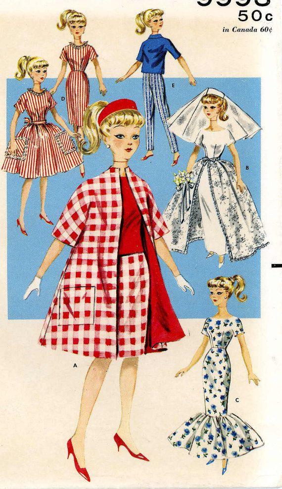 Vintage Doll Clothes PATTERN 9993 for 11.5 in Barbie Midge Gina Babs ...