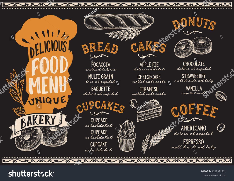 Bakery Menu Template For Restaurant Vector Illustration Brochure