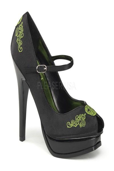 Womens Satin Shoes Mary Janes Platform Pumps Green Embroidery Skull 5 1//4 Inch