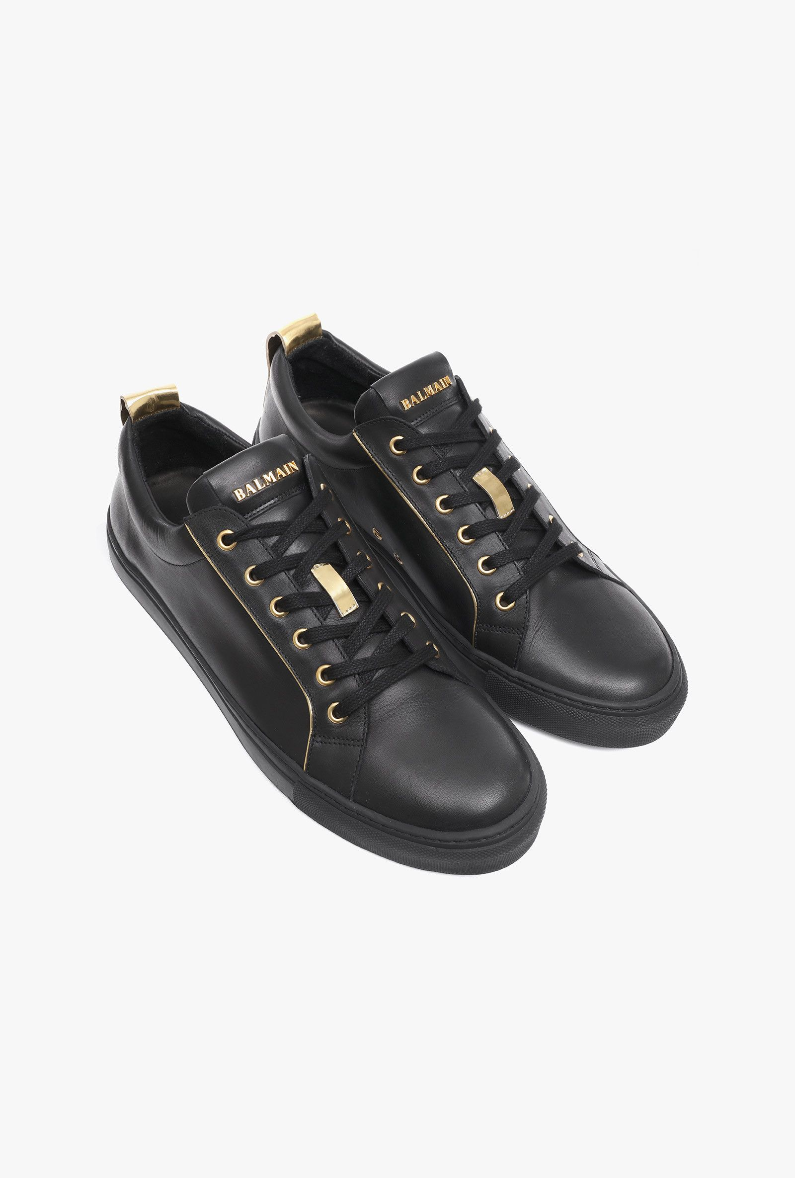 Leather Sneakers With Gold Tone Piping Mens Shoes Balmain