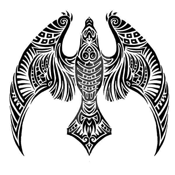 Tattoo Quotes Hawk: Tribal Night Hawk Tattoo Design
