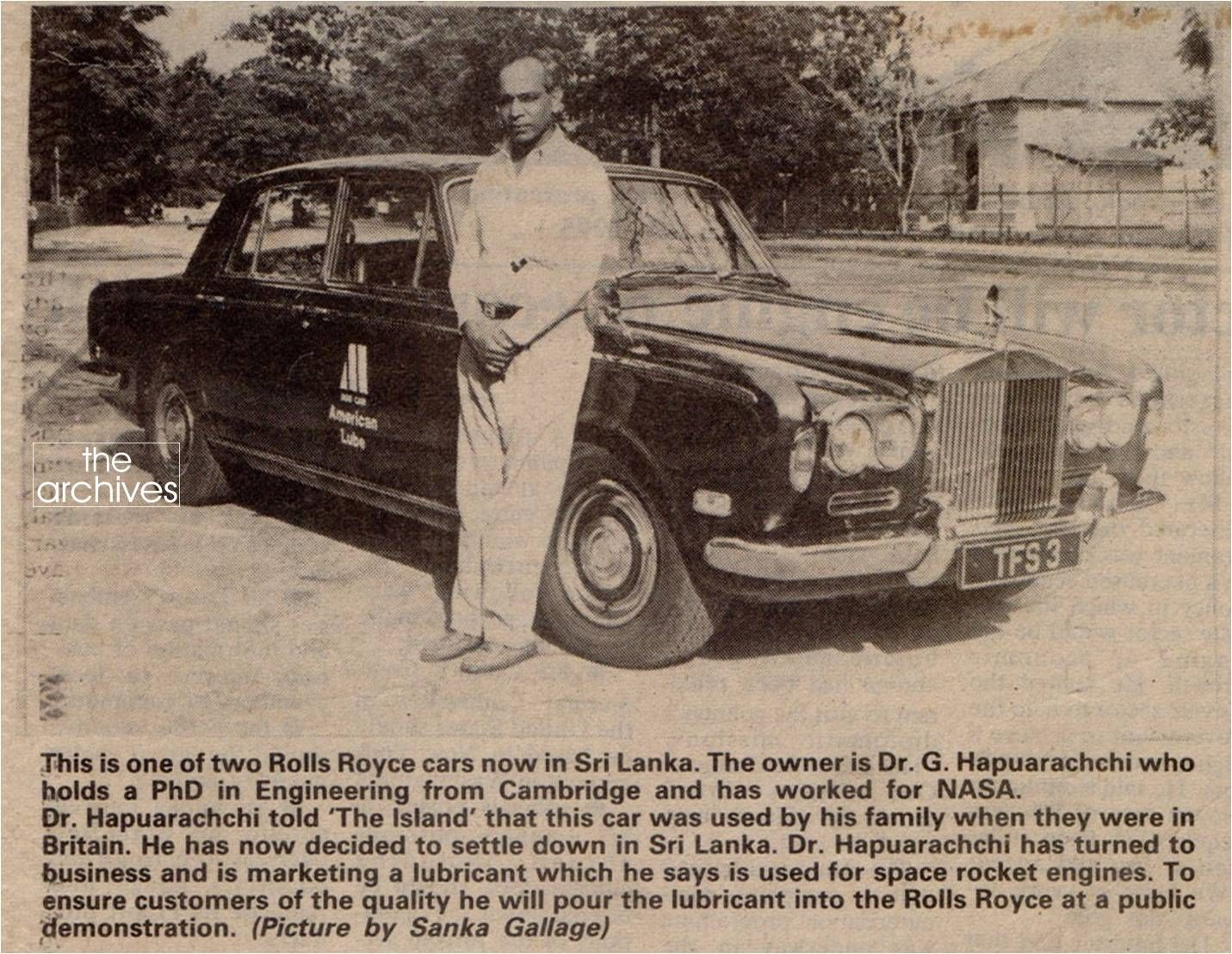 This is one of two Rolls Royce cars now in Sri Lanka. The