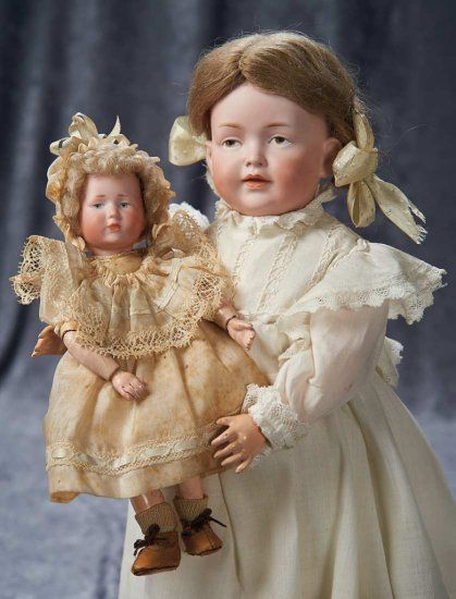 """Tiny All-Original German Bisque Pouting Character """"Marie"""" by Kammer and Reinhardt ~~Marks: K*R 101 19. Comments: Kammer and Reinhardt, the art character model marketed as """"Marie"""", circa 1910. Value Points: dear diminutive doll has wonderful expression, fine matte bisque, original fully articulated body and body finish, and wears factory-original costume."""