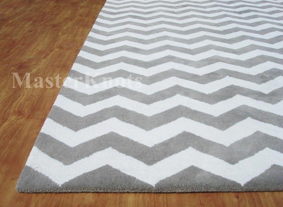 Brand New Chevron Zig Zag Gray 8x10 10x8 Handmade Woolen Area Rug Carpet Rc Ehs Contemporary Ebay Grey Chevron