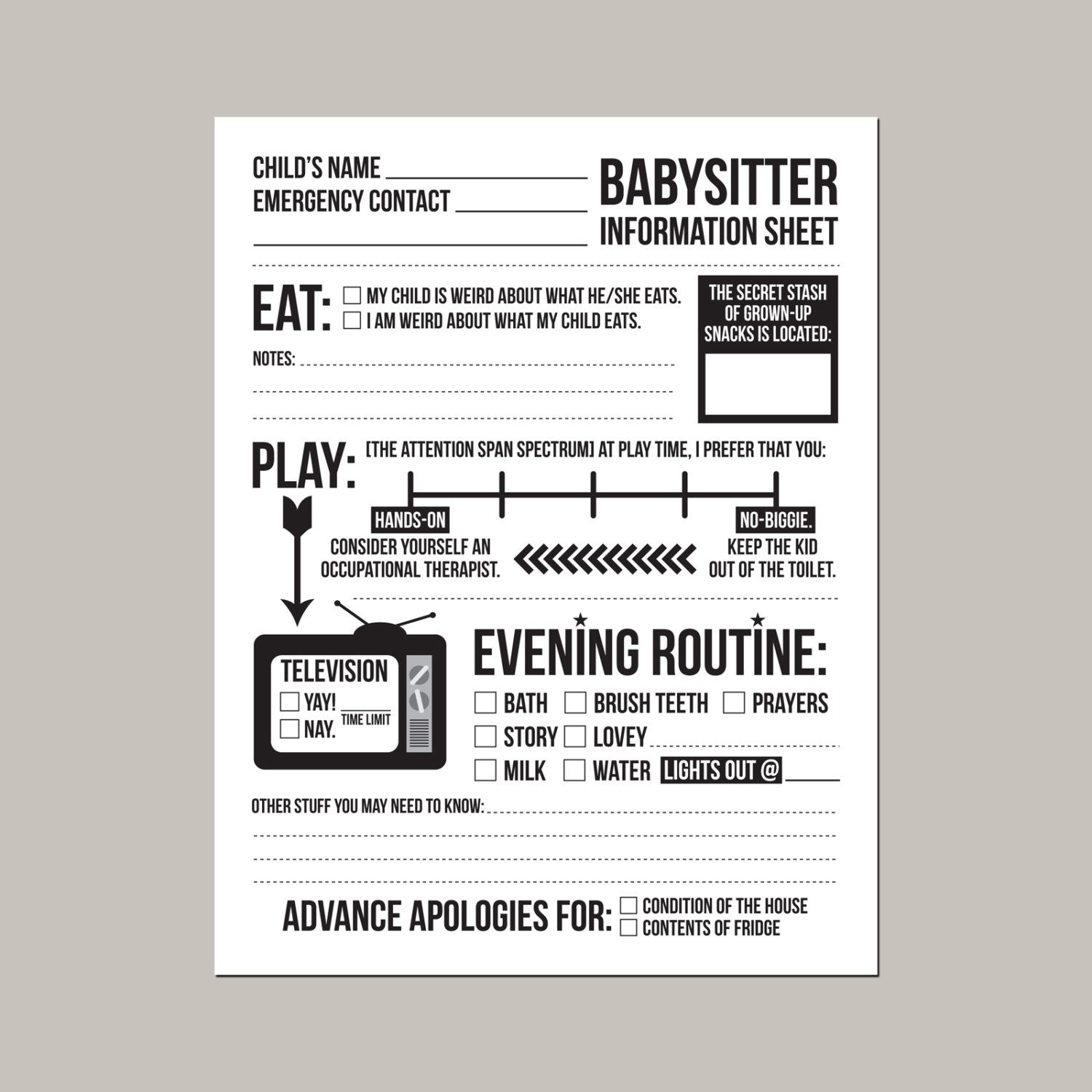 information for babysitter template - Kubre.euforic.co