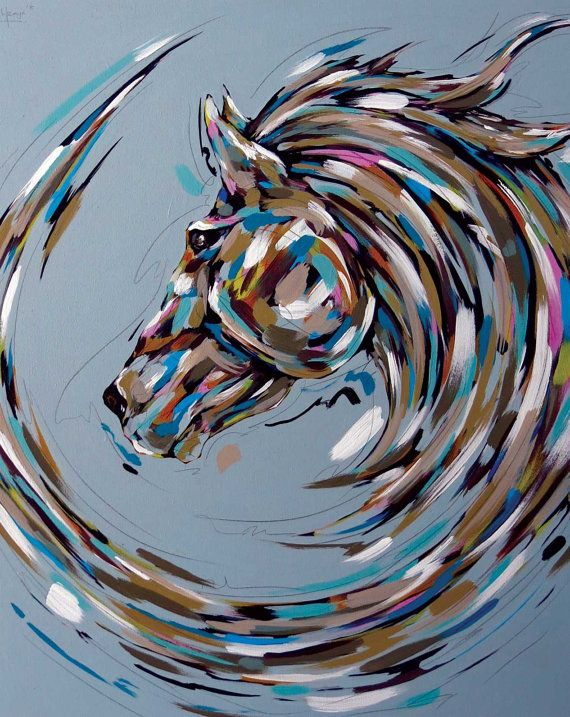 Art print Horse Painting, Acrylic Painting on canvas, Art gallery, Fine Art, original art, I am Powerful, I am not afraid