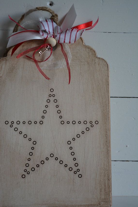 Wooden sign/tag with a vintage, rustic aged look with the a star --- Lovely as christmas decor, keepsake or christmas present