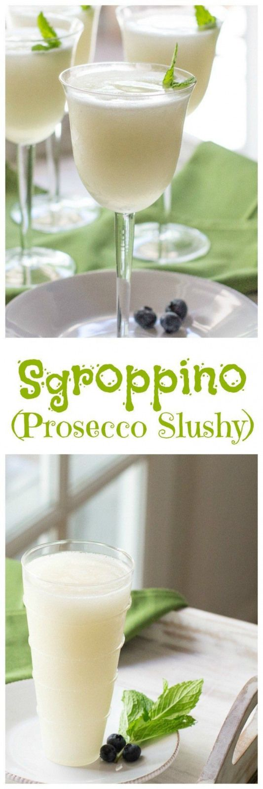 Sgroppino - Italian dessert drink made with lemon sorbet vodka and Prosecco perfect for a dinner party or over the holidays.