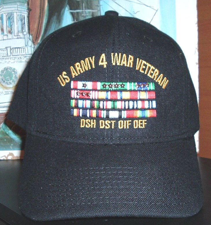52a9936c311 US ARMY 4 WAR VETERAN with 4 rows of ribbons with uniform ribbon  attachments   DSH
