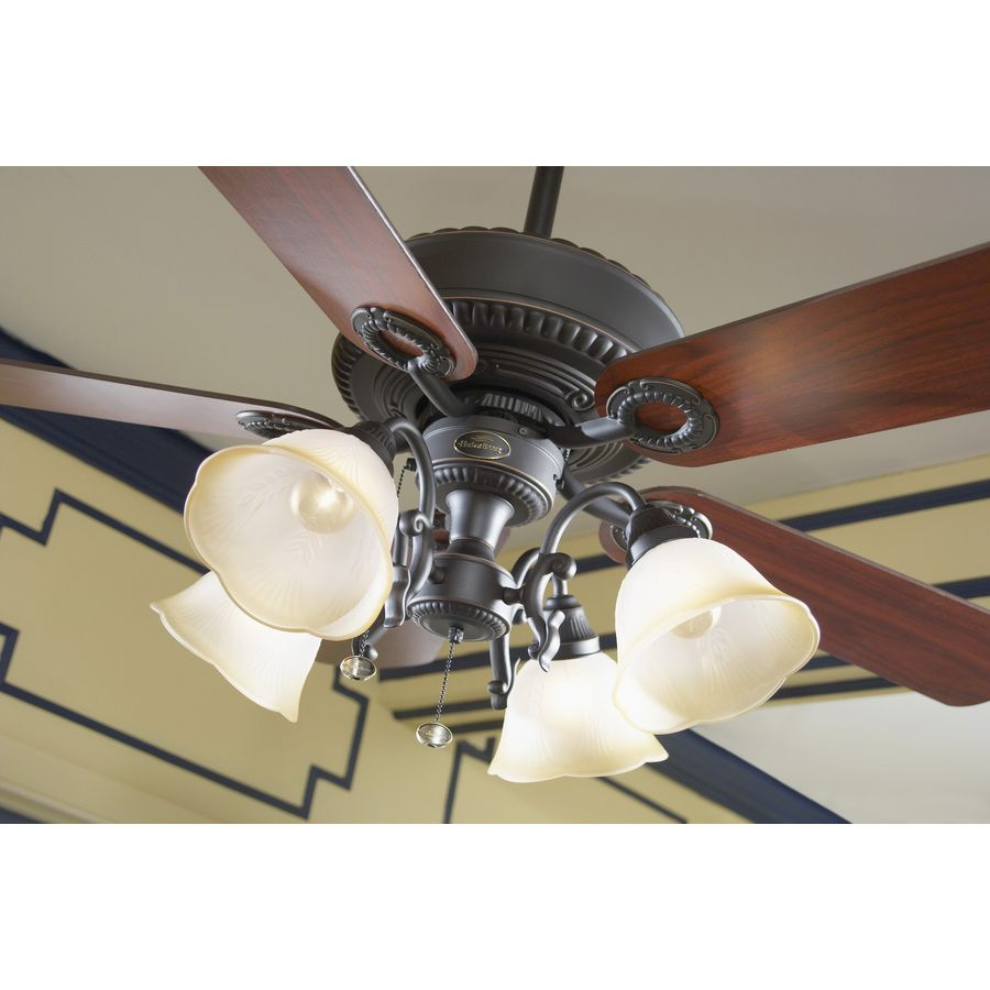 Shop Harbor Breeze Edenton 52 In Aged Bronze Downrod Or Close Mount Hunter 4light Antique Pewter Ceiling Fan Light Kit At Lowescom Indoor