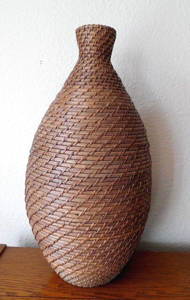 Woven Wicker Vase Decorative Home Decor Tall 21 Inches