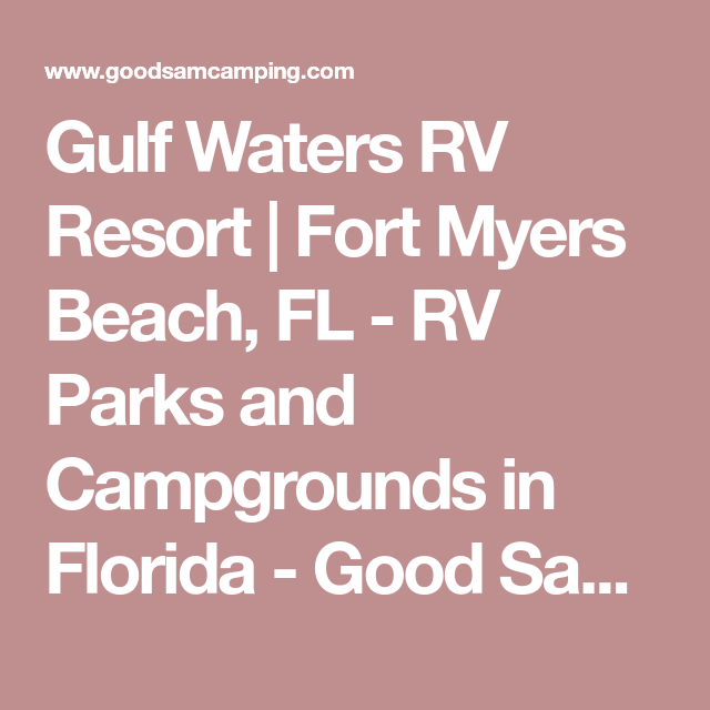 Gulf Waters Rv Resort Fort Myers